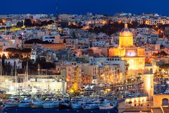 Valletta, Malta. View of Valletta and yachts marina from Upper Barrakka Gardens in the evening. Valletta, Malta. Yachts marina and Valletta view from Upper Royalty Free Stock Photography