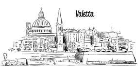 Valletta, Malte Croquis de vecteur d'ensemble de bord de mer de panorama illustration stock