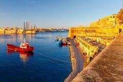 Valletta. Mediterranean harbor. Royalty Free Stock Images