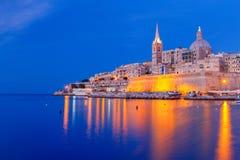 Valletta. Mediterranean harbor at night. Stock Photos