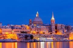 Valletta. Mediterranean harbor at night. Stock Photo