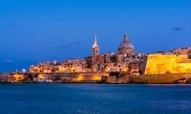 Valletta na noite, Malta Foto de Stock