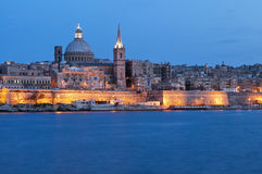 Valletta by night stock photography