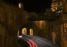 Valletta on night time. Valletta, Malta. Victoria gates in Valletta, Malta.  Royalty Free Stock Image