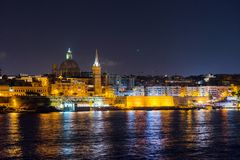 Valletta at night. View from Sliema. Malta Royalty Free Stock Photos