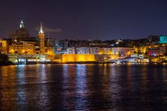 Valletta at night. View from Sliema. Malta. Beautiful Valletta at night. View from Sliema. Malta island Royalty Free Stock Image