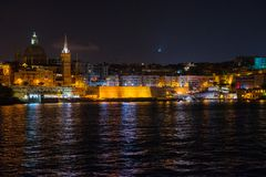 Valletta at night. View from Sliema. Malta. Beautiful Valletta at night. View from Sliema. Malta island Stock Photography