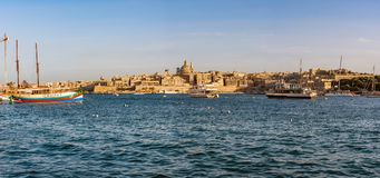 Panorama of Valletta, Malta. Valletta, often incorrectly La Valletta, is the capital city of the island state Malta lying on the east coast between the bays of Royalty Free Stock Photo