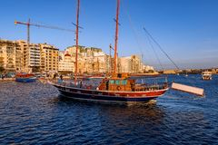 Panorama of Sliema, Malta. Valletta, often incorrectly La Valletta, is the capital city of the island state Malta lying on the east coast between the bays of Stock Image