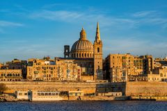 Panorama of Valletta, Malta. Valletta, often incorrectly La Valletta, is the capital city of the island state Malta lying on the east coast between the bays of Stock Images