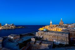 Panorama of Valletta, Malta. Valletta, often incorrectly La Valletta, is the capital city of the island state Malta lying on the east coast between the bays of Stock Photo