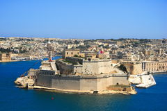 Valletta old town coastline, Malta. Grand Harbor of Malta, unesco world heritage city viewed from Valletta Stock Photos