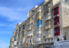 Valletta, Oude Huizen, Panorama, Hoofdstad, Republiek Malta Royalty-vrije Stock Fotografie