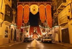 Valletta oude stad bij nacht Stock Afbeelding