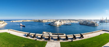 Valletta panorama. Fort Saint Angelo - Malta. Saluting battery,. Important tourist attraction Royalty Free Stock Photos