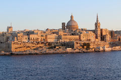 Valletta, Panorama, Hoofdstad, Republiek Malta Stock Afbeelding
