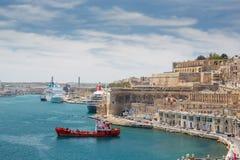 Valletta port, Malta. Red boat Stock Photography