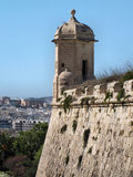 Valletta Ramparts Watchtower. A watchtower on the corner of the defensive walls of Valletta, Malta Stock Photo