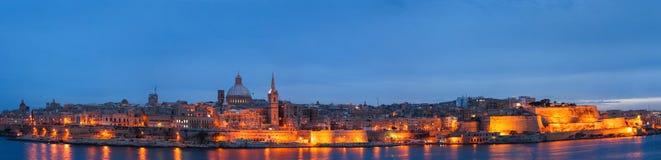 Valletta seafront skyline view as seen from Sliema, Malta. Stock Photo