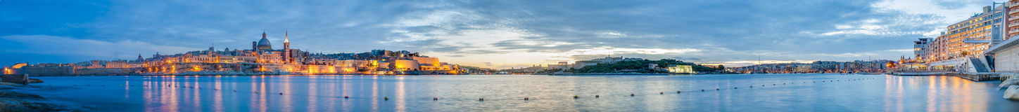 Valletta seafront skyline view, Malta Stock Images