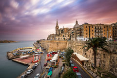 Valletta Skyline in the Cloudy Morning Royalty Free Stock Photos