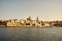 Valletta Skyline in the Evening, Malta Stock Photo