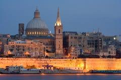 Valletta Skyline In The Evening, Malta. Illuminated Skyline of Valletta, Malta Royalty Free Stock Photography