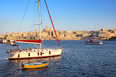 Valletta Skyline in the Evening, Malta Royalty Free Stock Photography