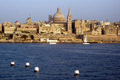Valletta skyline, Malta. Valletta, the historic capital of Malta, boasts a beautiful harbor and classic architecture stock photo
