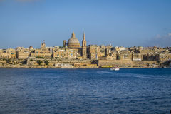 Valletta skyline from Sliema with Basilica of Our Lady of Mount Carmel - Valletta, Malta. Valletta skyline from Sliema with Basilica of Our Lady of Mount Carmel Stock Images