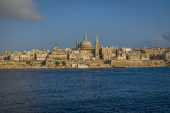Valletta skyline from Sliema with Basilica of Our Lady of Mount Carmel - Valletta, Malta. Valletta skyline from Sliema with Basilica of Our Lady of Mount Carmel Royalty Free Stock Image