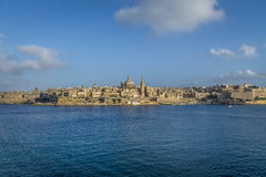 Valletta skyline from Sliema with Basilica of Our Lady of Mount Carmel - Valletta, Malta. Valletta skyline from Sliema with Basilica of Our Lady of Mount Carmel Royalty Free Stock Photography
