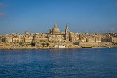 Valletta skyline from Sliema with Basilica of Our Lady of Mount Carmel - Valletta, Malta. Valletta skyline from Sliema with Basilica of Our Lady of Mount Carmel Royalty Free Stock Images
