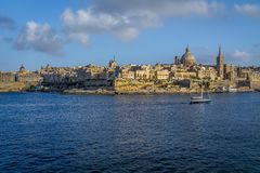 Valletta skyline from Sliema with Basilica of Our Lady of Mount Carmel - Valletta, Malta. Valletta skyline from Sliema with Basilica of Our Lady of Mount Carmel Stock Photos