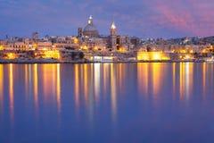 Valletta Skyline from Sliema at night, Malta Royalty Free Stock Photo