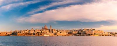 Valletta Skyline from Sliema at sunset, Malta Royalty Free Stock Photo