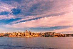 Valletta Skyline from Sliema at sunset, Malta Royalty Free Stock Images