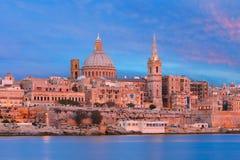 Valletta Skyline from Sliema at sunset, Malta Stock Photos
