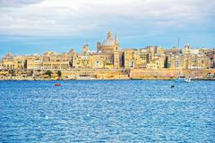 Valletta Skyline with St Paul Cathedral and bastions Malta. Valletta Skyline with St Paul Cathedral and bastions, Malta Island Stock Image