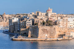 Valletta Skyline with wall Royalty Free Stock Images