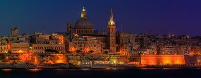 Valletta solnedgång Arkivbild