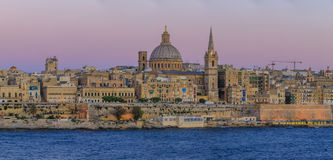 Valletta solnedgång royaltyfri bild