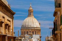 Valletta. St. Paul`s Cathedral. View of St. Paul`s Cathedral on a sunny day. Malta. Valletta Stock Photos