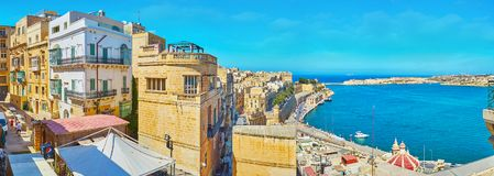 Valletta from St Peter and Paul Bastion, Malta. VALLETTA, MALTA - JUNE 17, 2018: The upper tier of St Peter and Paul Bastion is perfect viewpoint, overlooking Royalty Free Stock Photography