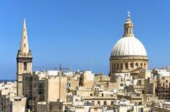 Valletta starzy grodzcy punkty zwrotni na słonecznym dniu fotografia stock