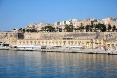 Valletta strandbyggnader och hamn, Malta Royaltyfri Foto