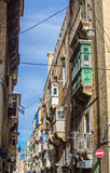 Valletta - streets and balconies Royalty Free Stock Images