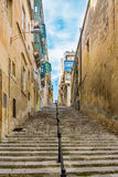 Valletta - streets and stairs. Pictures shows the impressive streets and stairs at valletta city of malta Royalty Free Stock Photography