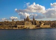 Valletta in sunny day with blue sky, Malta stock photo