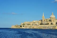 Valletta und Meer Stockfotos